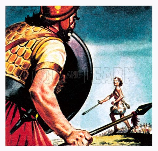 David and Goliath. NB: Scan of small illustration.