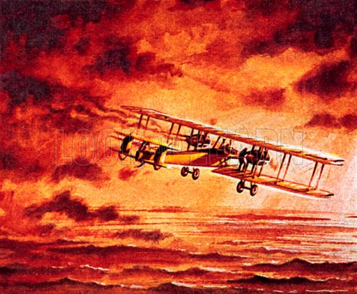 """Alcock and Brown in their Vickers """"Vimy"""". NB: Scan of small illustration."""