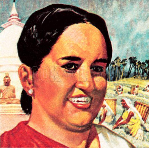 Mrs Sirimavo Bandaranaike. NB: Scan of small illustration.