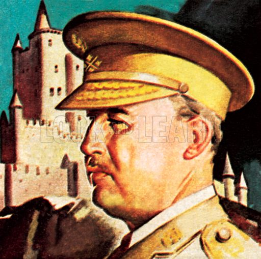 General Franco. President and Dictator of Spain. NB: Scan of small illustration.