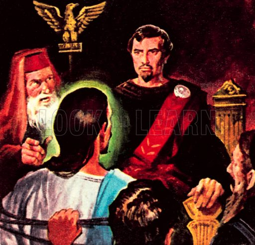 Pontius Pilate in judgment over Jesus Christ. NB: Scan of small illustration.