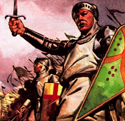King Harold victorious at Stamford Bridge. NB: Scan of small illustration.