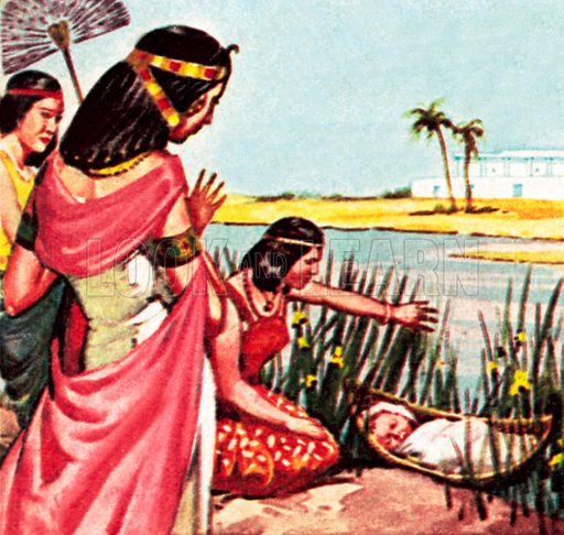Moses in the bullrushes. NB: Scan of small illustration.