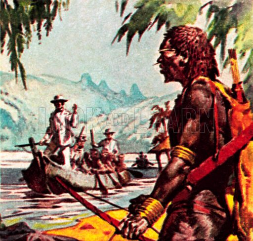 Mungo Park on the river Niger. NB: Scan of small illustration.