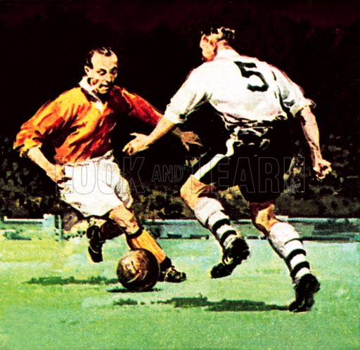 Stanley Matthews about to win his one Cup Winner's medal. NB: Scan of small illustration.