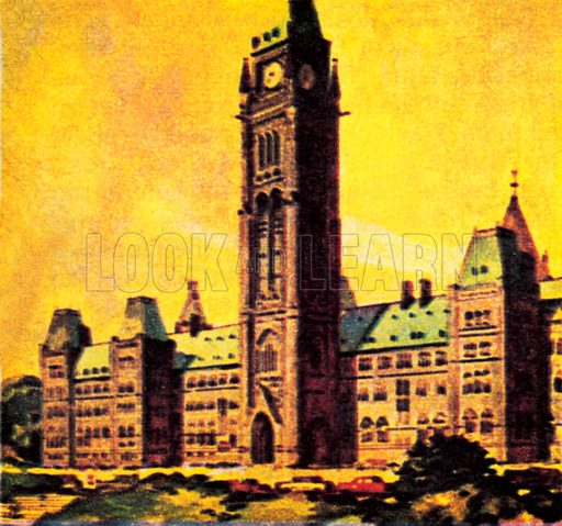 Canada's Parliament House is Ottawa. NB: Scan of small illustration.