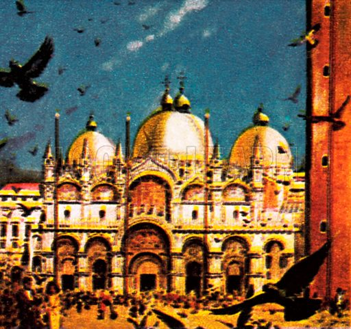 Piazza San Marco, Venice. NB: Scan of small illustration.