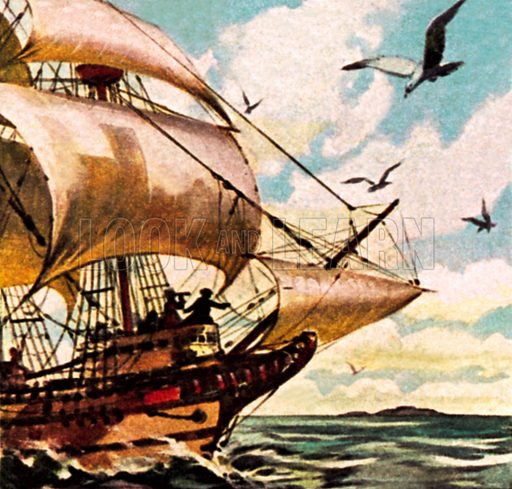 The ship of Abel Tasman. NB: Scan of small illustration.