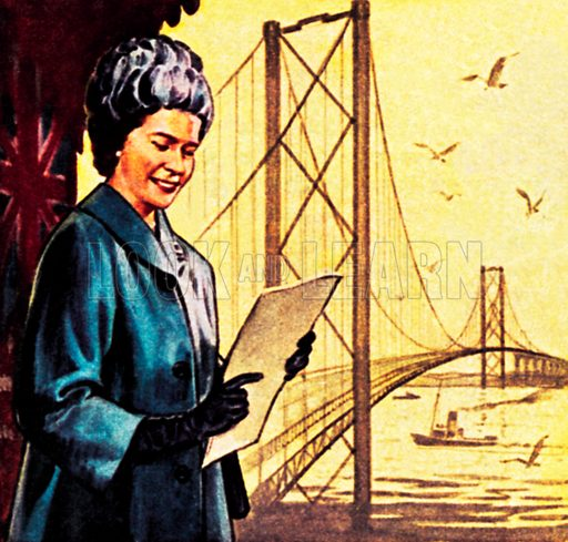 Queen Elizabeth II opening the Forth Bridge. NB: Scan of small illustration.