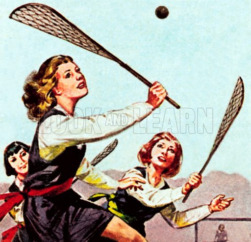 Girls playing lacrosse. NB: Scan of small illustration.