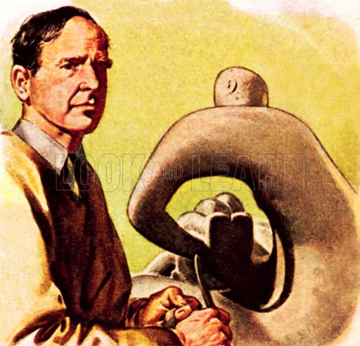 Henry Moore with a typical sculpture. NB: Scan of small illustration.