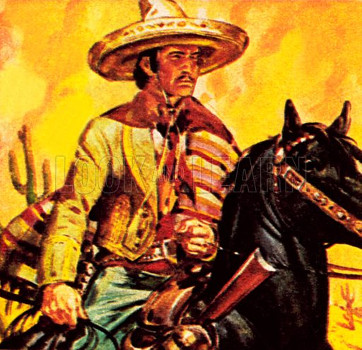 Mexican cattle man. NB: Scan of small illustration.