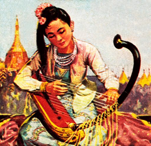 Burmese girl playing the harp. NB: Scan of small illustration.