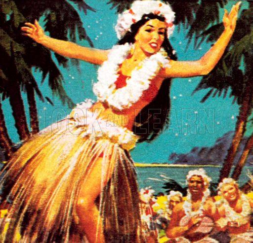 Hawaian girl dancing. NB: Scan of small illustration.