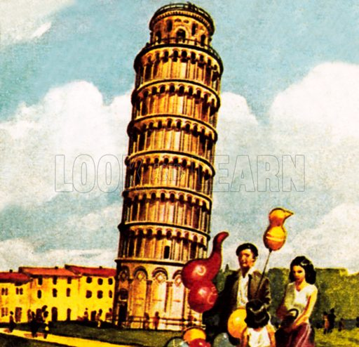 The Leaning Tower of Pisa. NB: Scan of small illustration.