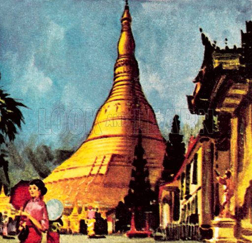 Golden Pagoda in Rangoon. NB: Scan of small illustration.