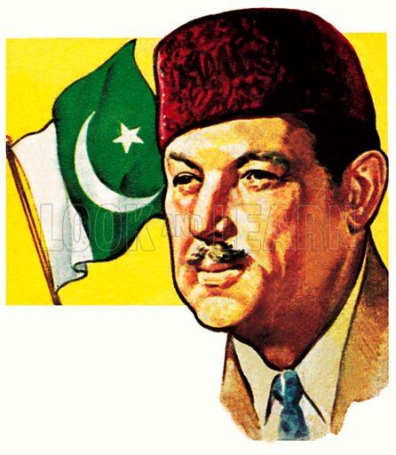 President Ayub Khan of Pakistan.  NB: Scan of small illustration.