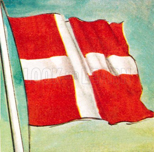 The Danish flag. NB: Scan of small illustration.