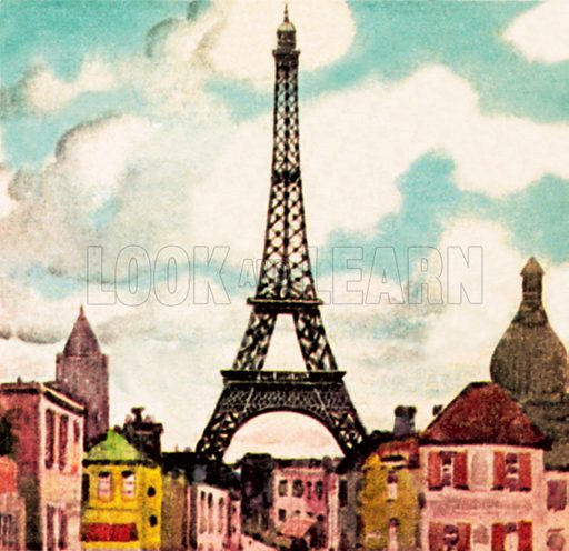 Eiffel Tower. NB: Scan of small illustration.