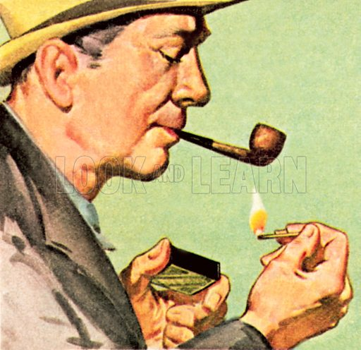 Man striking a match to light a pipe. NB: Scan of small illustration.
