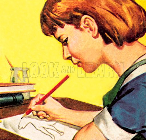 Girl drawing with a lead pencil. NB: Scan of small illustration.