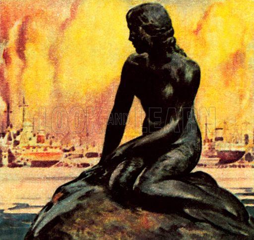 Little Mermaid Statue in Copenhagen. NB: Scan of small illustration.