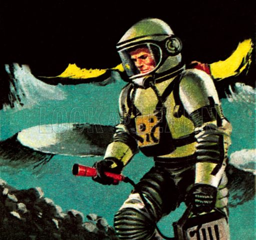 Man on the moon, as imagined in 1964. NB: Scan of small illustration.