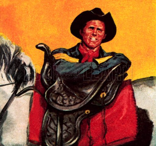 Cowboy with his saddle. NB: Scan of small illustration.