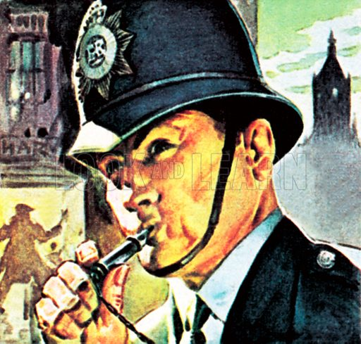 Policeman with his whistle. NB: Scan of small illustration.