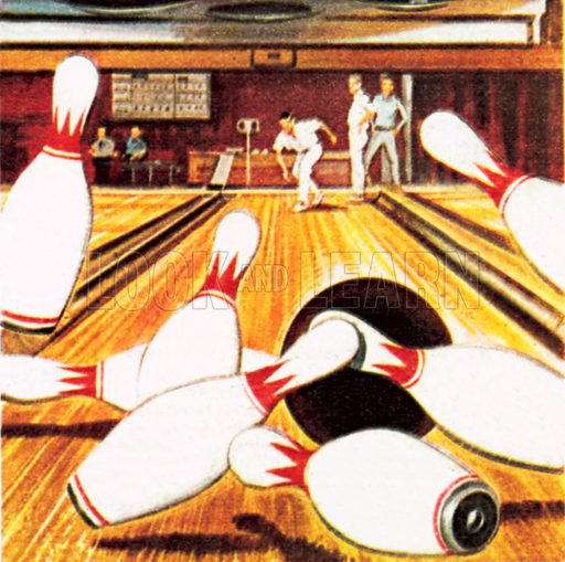Ten pin bowling. NB: Scan of small illustration.
