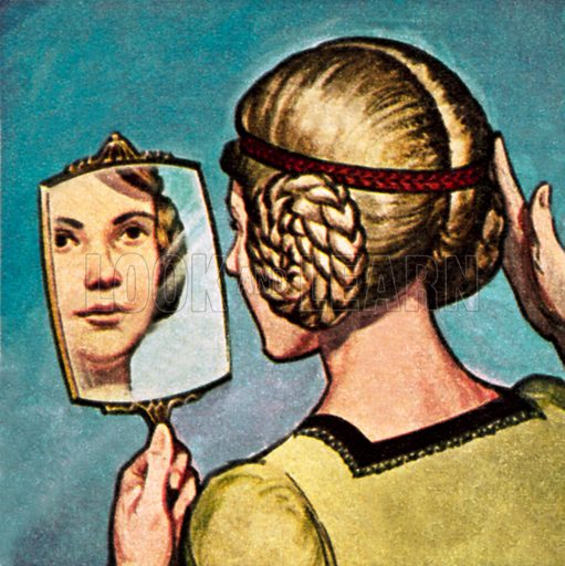 Medieval girl looking into a mirror. NB: Scan of small illustration.