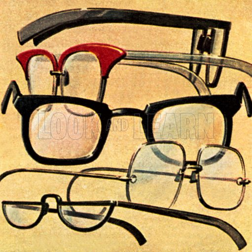 Pairs of glasses. NB: scan of small illustration.