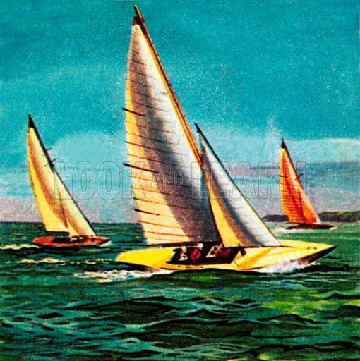 Sailing boats. NB: Scan of small illustration.