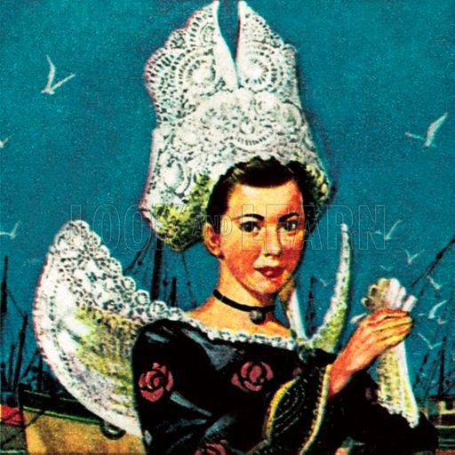 Girl in Breton costume. NB: Scan of small illustration.
