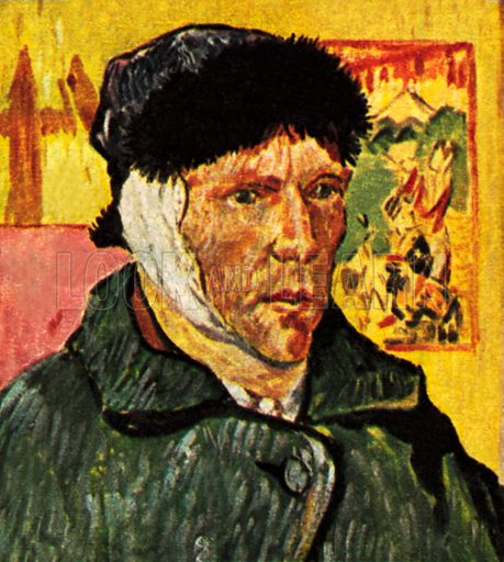 Van Gogh with a bandage round his head (redrawn). NB: Scan of small illustration.