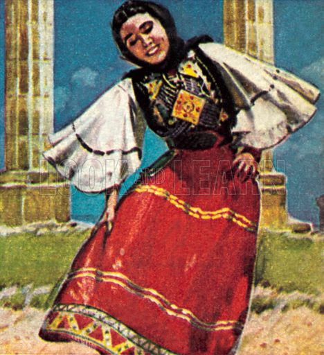 Girl in national costume of Greece. NB: Scan of small illustration.