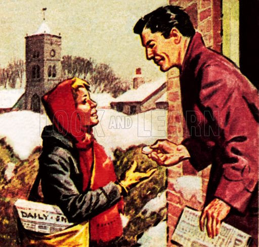 Paper boy receiving his Christmas box. NB: Scan of small illustration.
