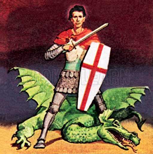 St George and the Dragon. NB: Scan of small illustration.