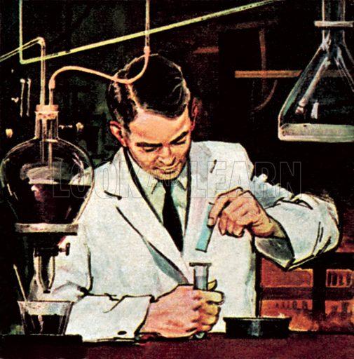 Chemist using litmus paper. NB: Scan of small illustration.