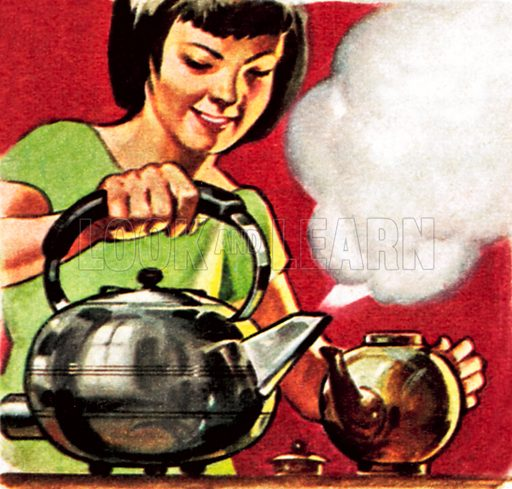 Kettle with steam coming out of it. NB: Scan of small illustration.