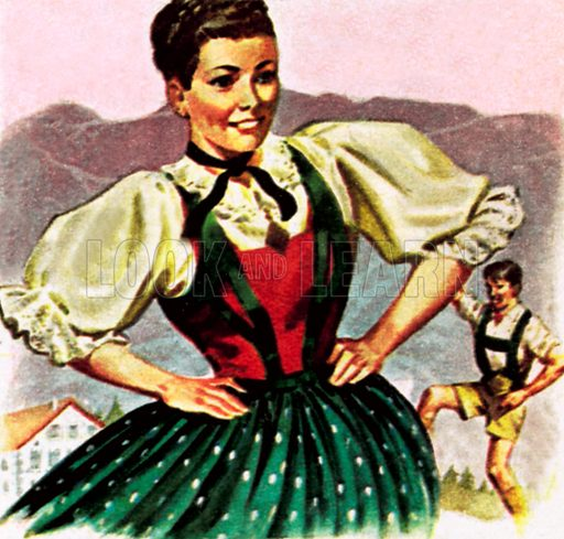 Girl in the costume of the Austrian Tyrol. NB: Scan of small illustration.