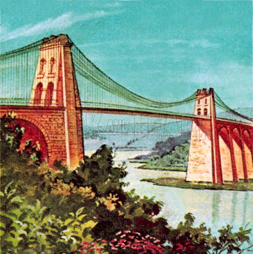 Mennai suspension bridge. NB: Scan of small illustration.