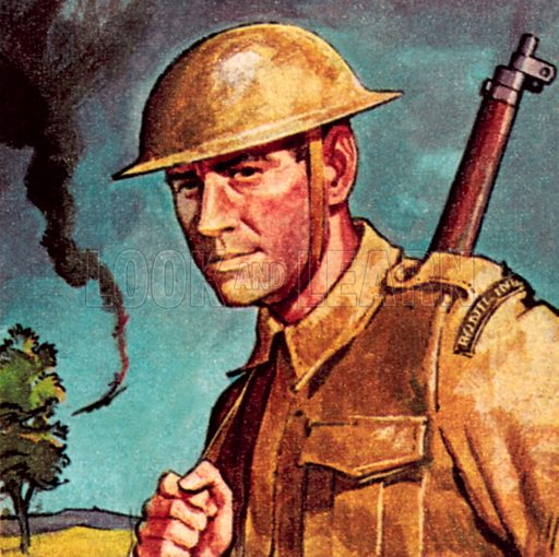 Tommy Atkins, the nick name for a private soldier in the British Army. NB: Scan of small illustration.