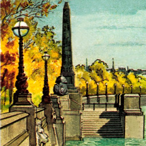 Cleopatra's Needle on the Thames Embankment. NB: Scan of small illustration.