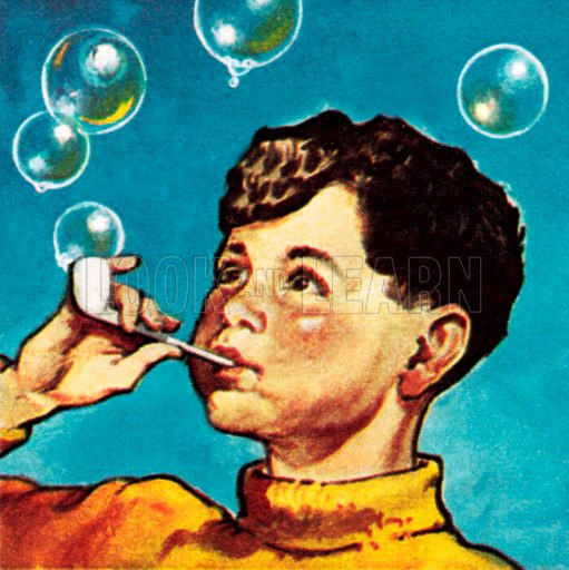 Boy blowing bubbles from a pipe. NB: Scan of small illustration.