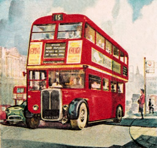London bus. NB: Scan of small illustration.