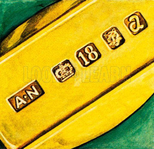 Hallmarks on gold. NB: Scan of small illustration.