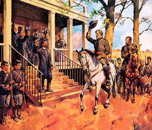 Confederate General Robert E Lee on his horse Traveller, arriving at Appomattox Court House, Virginia, to surrender to Union General Ulysses S Grant, ending the American Civil War, 1865.