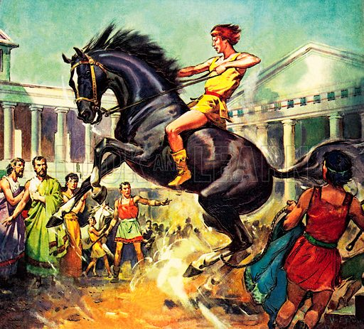 The young Alexander the Great taming his horse Bucephalus, 4th Century BC.
