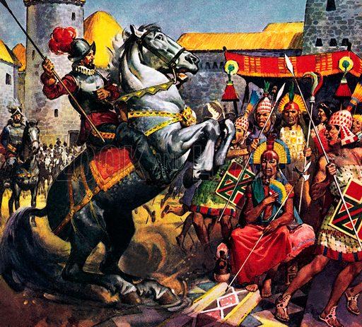 Incas panicked by a Spanish Conquistador on horseback.